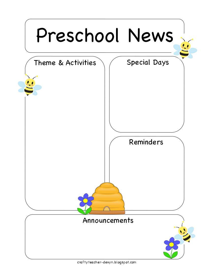 The Crafty Teacher Preschool Bee Newsletter Template  Preschool