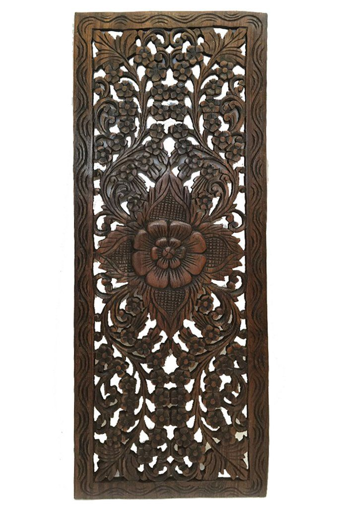 Wall Hanging Decorative Thai Relief Panel Sculpture Large Carved Wood Size 35 5 X13 X0 Available In Red Mahogany And Dark Brown