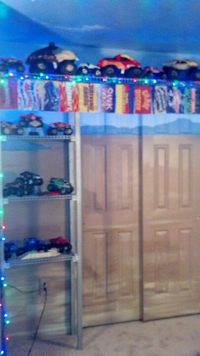 Bookcase display case monster truck themed bedroom (With ...