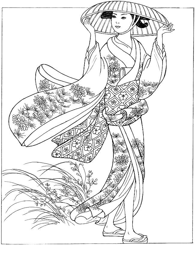 Free coloring page coloring-japonese-woman-with-hat