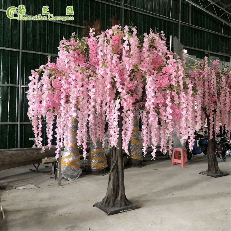 Pink Weeping Artificial Wisteria Tree For Wedding Party Event Decor China Hac Wisteria Tree Fake Trees Wedding Tree Decorations