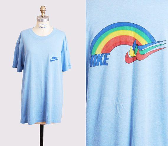 b49e542208916 Vintage 70s 80s NIKE Shirt Rainbow TShirt / 1970s 1980s Tee Graphic ...