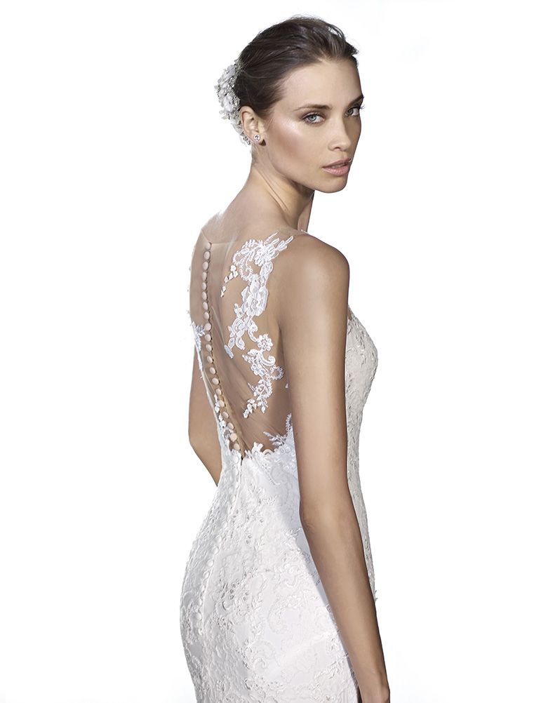 """amazing low back illusion lace """"floating"""" ontop of your skin new to 2016 pronovias collection in store now"""