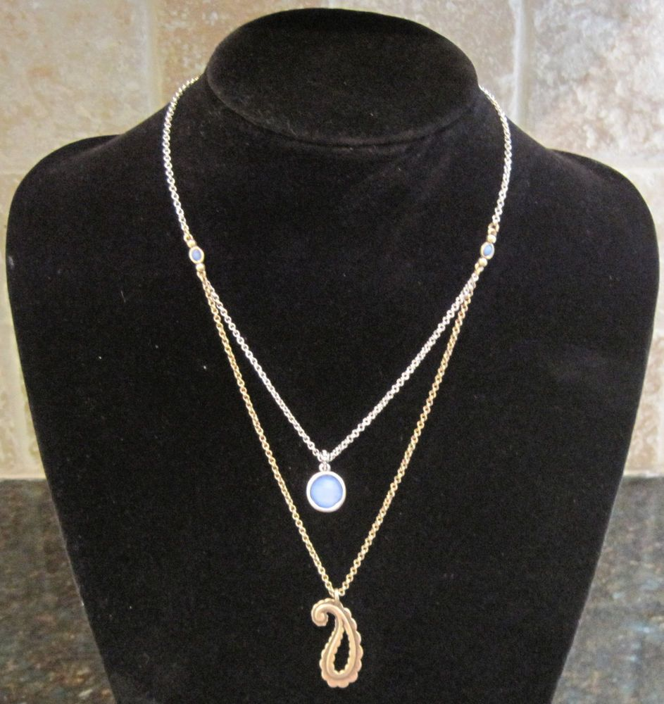 Lucky brandsilver and goldlayered blue stone and paisley pendant