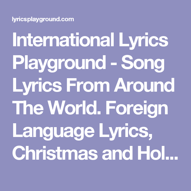 International Lyrics Playground - Song Lyrics From Around The World ...