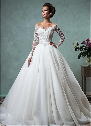 romantic tulle off the shoulder neckline a line wedding dresses with