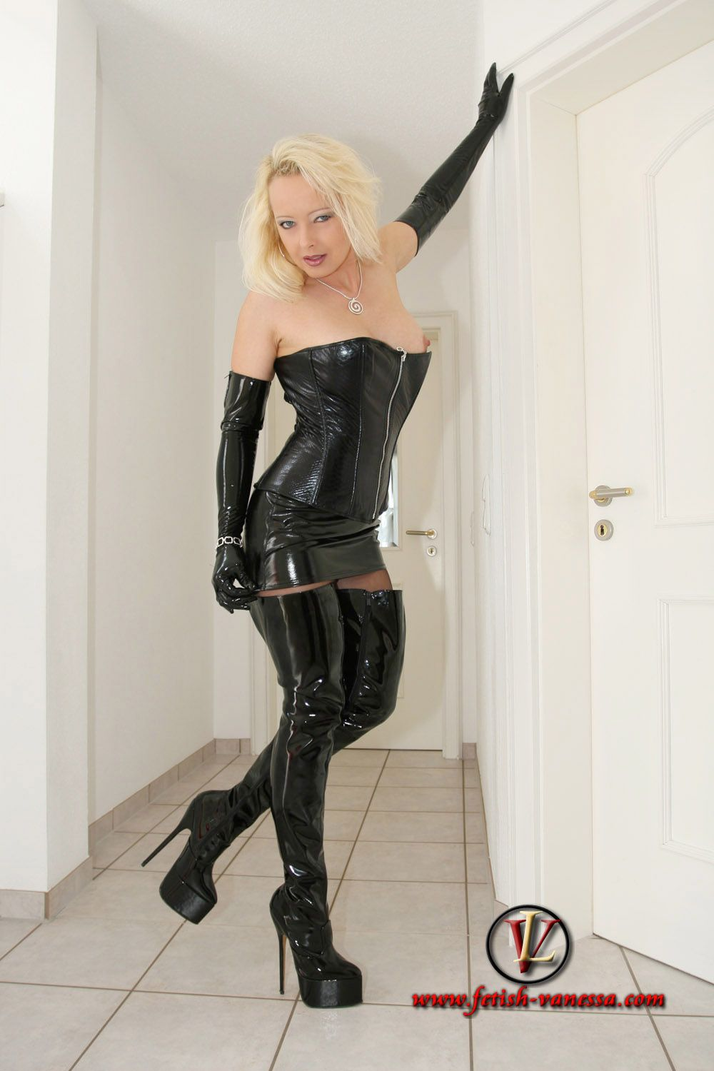 Mistress in leather tights domination - 1 3
