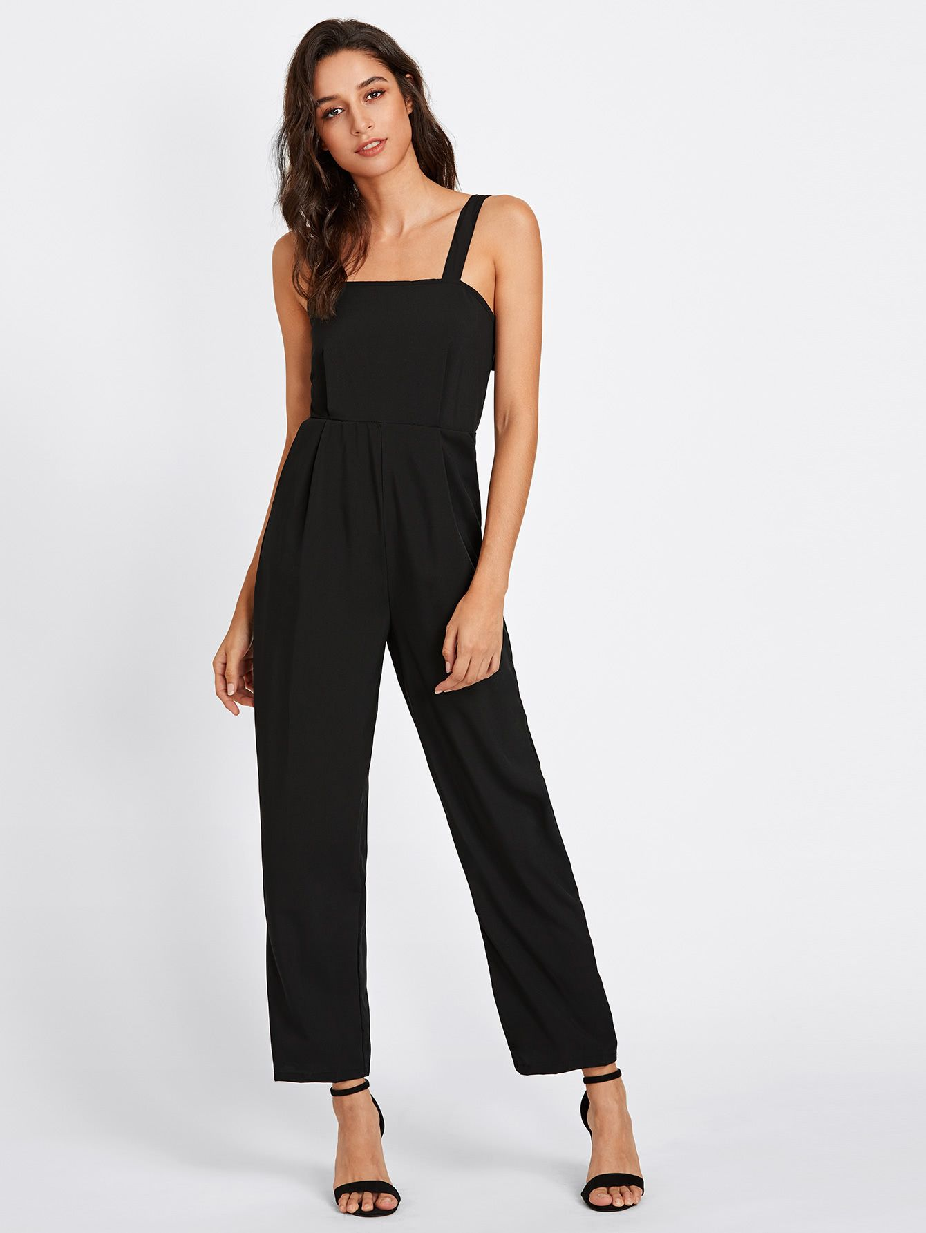 76999ddf7ae Shop Adjustable Strap Button Back Jumpsuit online. SheIn offers Adjustable  Strap Button Back Jumpsuit   more to fit your fashionable needs.