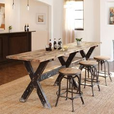 Tables - Handcrafted of reclaimed wood, this rugged and beautiful gathering  table is highly functional  Narrow Dining TablesCounter Height ...