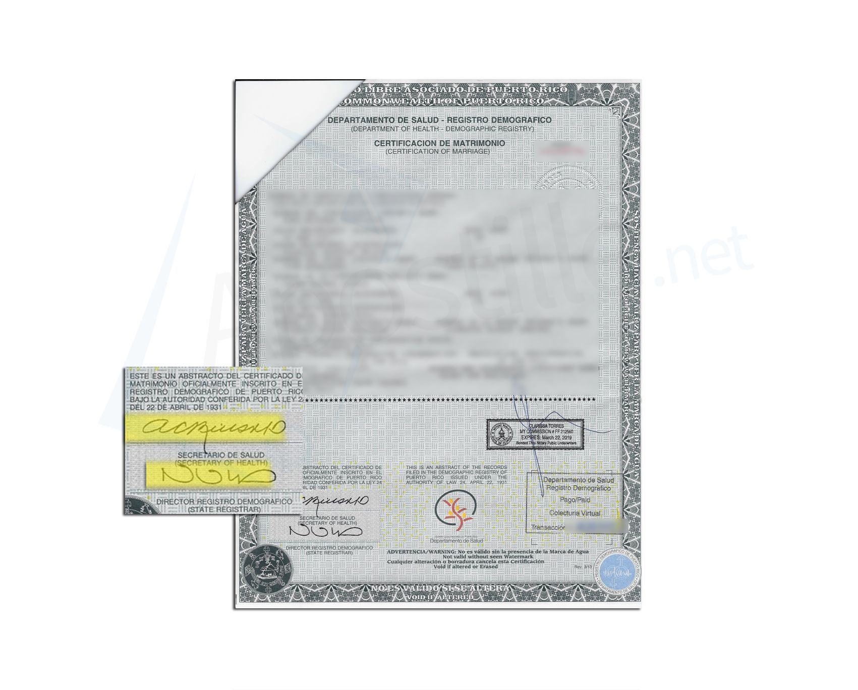 State of Puerto Rico Marriage certificate signed by Ana C Rius ...