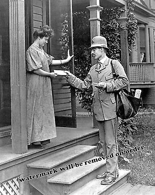 Photograph of Post Office Mail Delivery Mailman /& Truck Year 1919  8x10