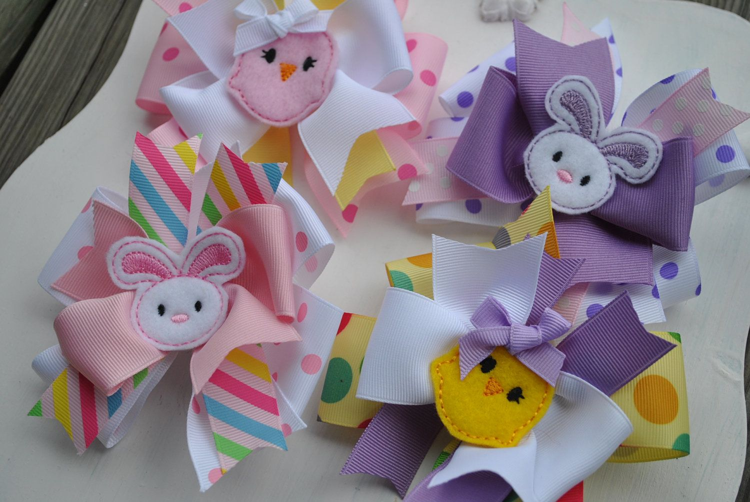 Large Easter Boutique Bow Set - HOPPY DAYS - Large Triple Layer Spiked Bow - holiday Set. $24.99, via Etsy.