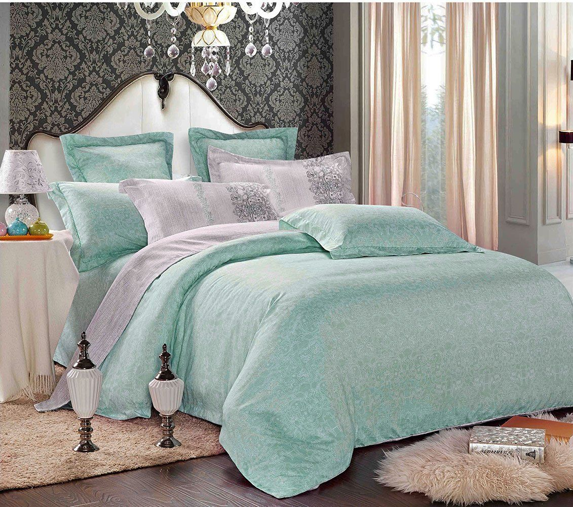 Grey Teal Duvet Cover Set Queen, Reversible with Gray and