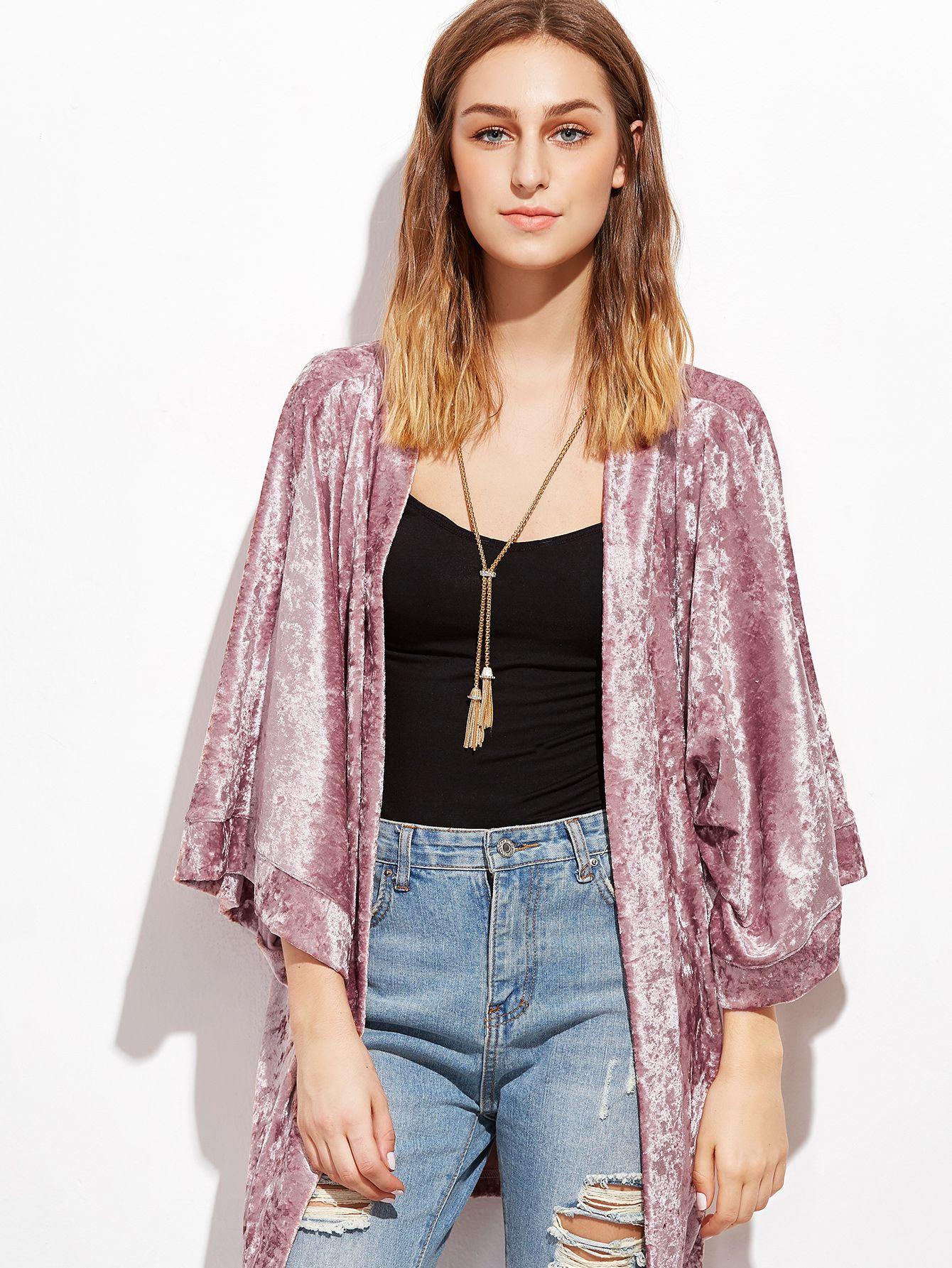0b9a6691bd Shop Pink 3 4 Sleeve Crushed Velvet Kimono EmmaCloth-Women Fast Fashion  Online