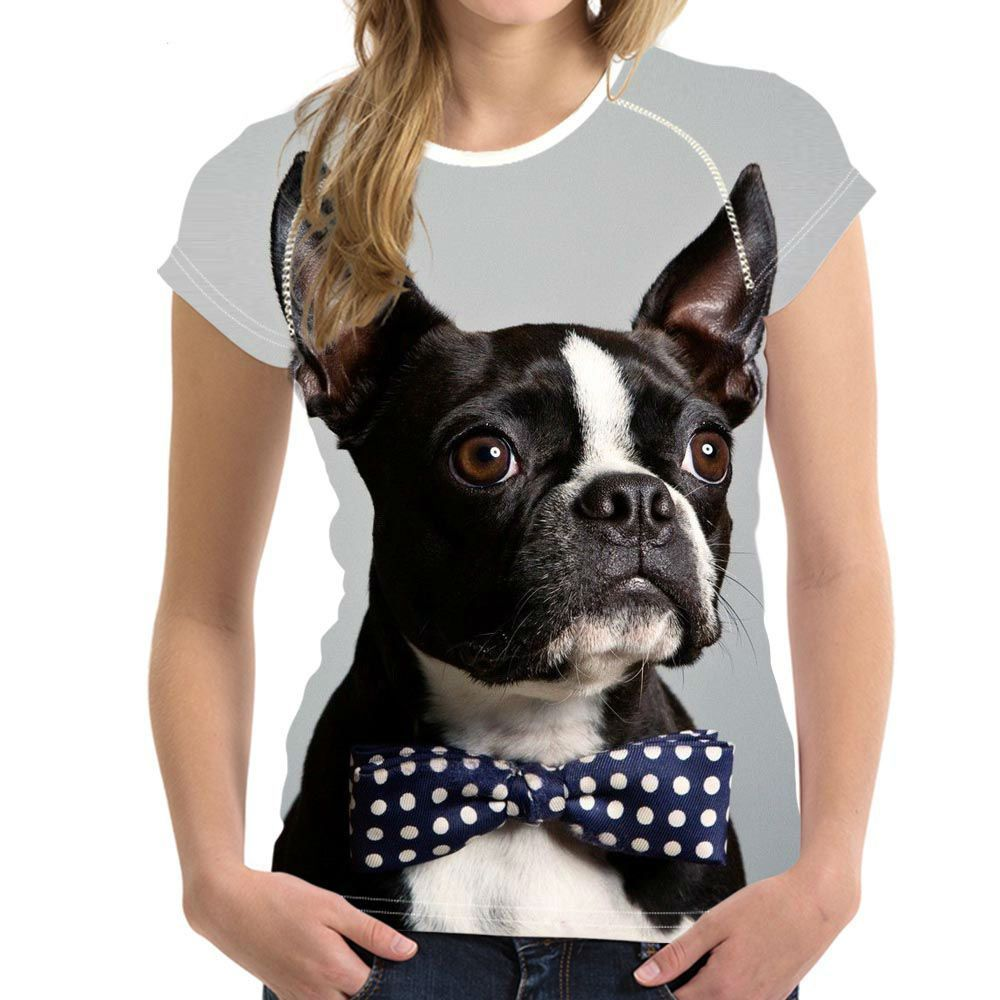 Women\'s Boston Terrier Soft T-Shirts Size S to XXL Red Blue Brown Gray
