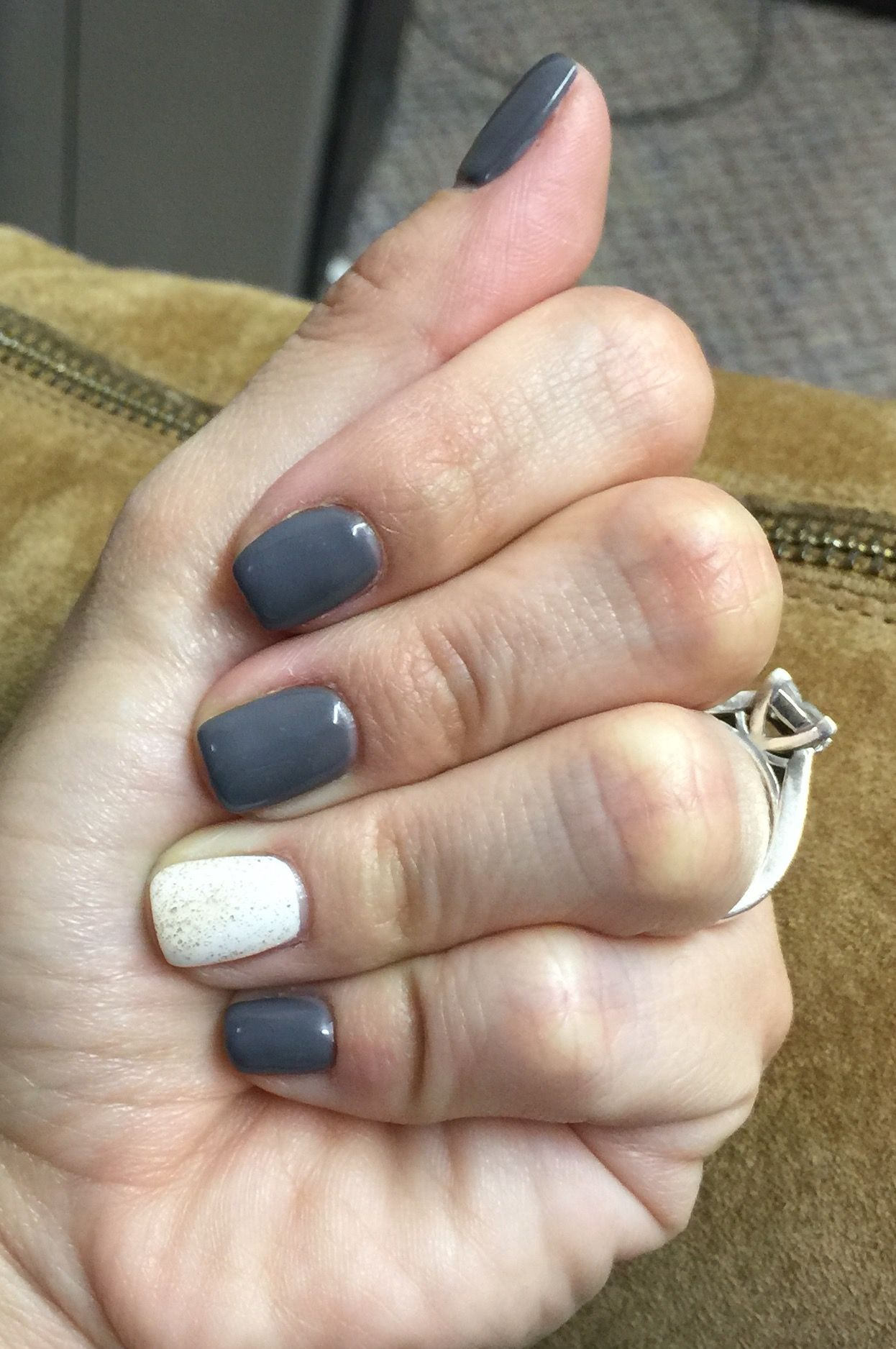Dark grey nails ❤ with white and gold glitter | My Nails ...