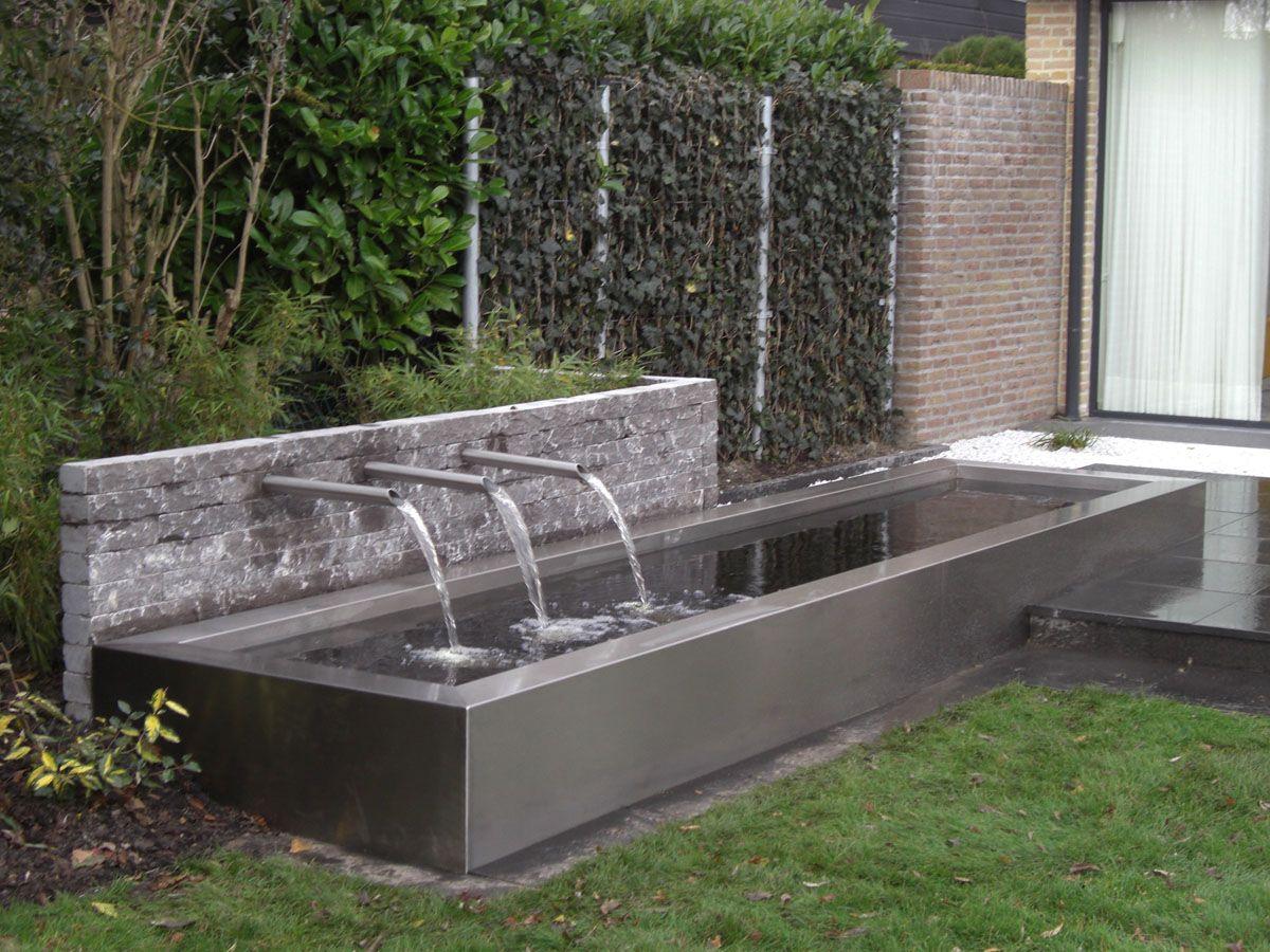 Rvs Vijver Met Uitlopen H2o Features Water Wall
