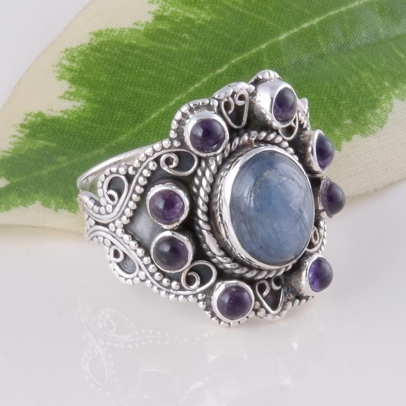 925 SOLID STERLING SILVER DESIGNER KYANITE & AMETHYST RING 6.53g DJR3251 #Handmade #Ring
