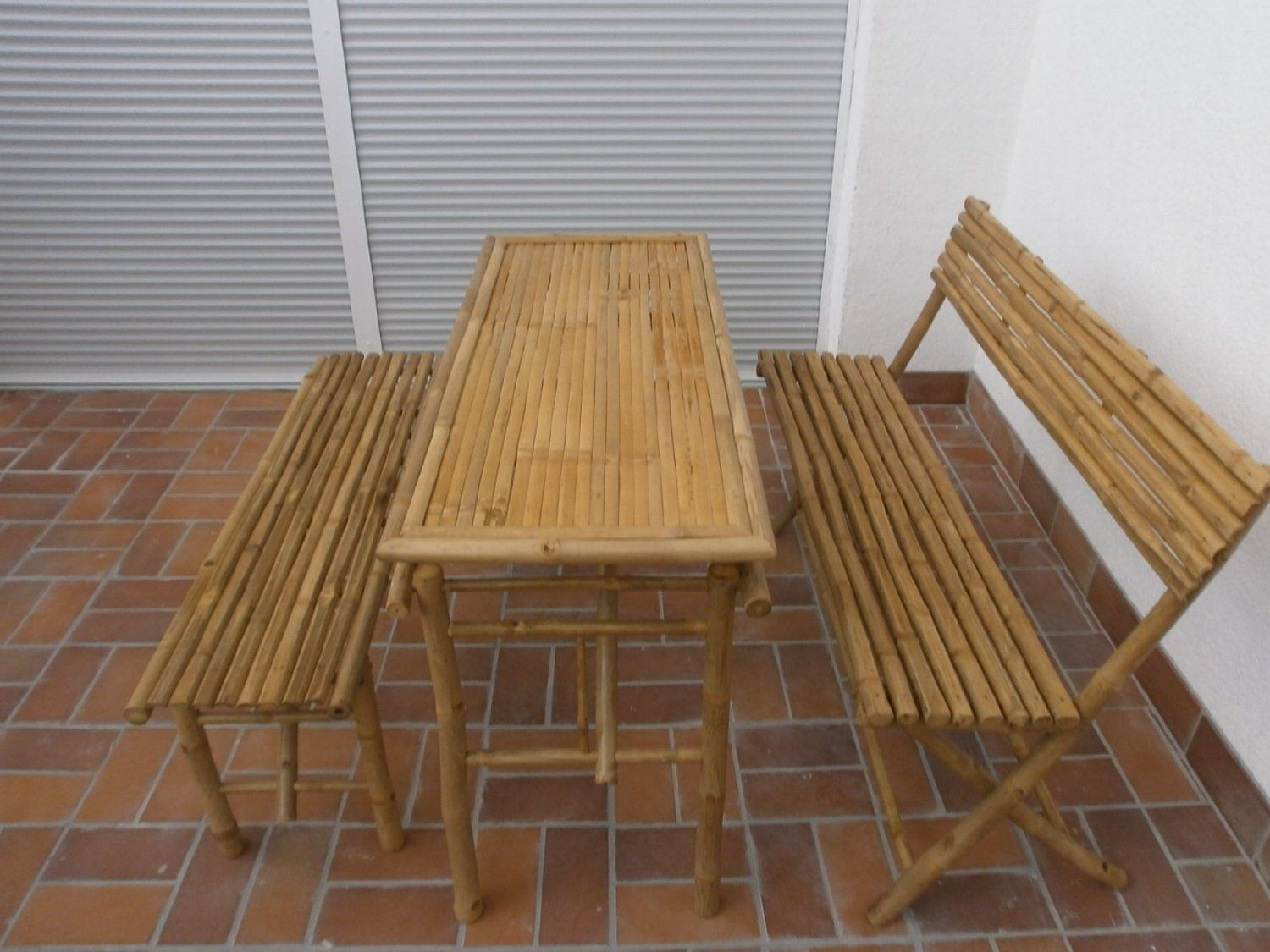 Kienlam Bamboo Garden Furniture Set with 1 Table and 2 Benches ...