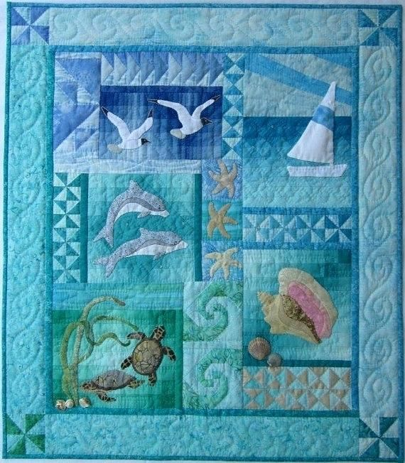 Beach Themed Bedding Australia By The Sea Wall Quilt Pattern By ... : beach themed quilt patterns - Adamdwight.com