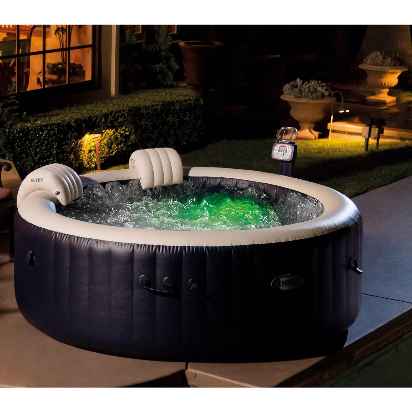 Intex Purespa 4 Person Home Inflatable Portable Heated Bubble Round Hot Tub In 2020 Round Hot Tub Portable Hot Tub Inflatable Hot Tubs