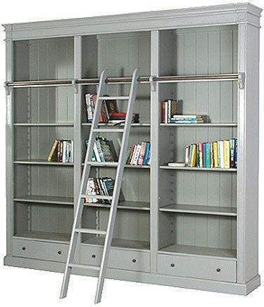 Black Library Bookcase with ladder Black Library Bookcase with ladder