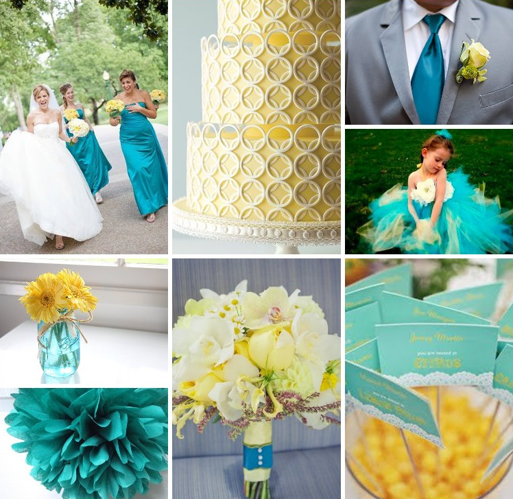 turquoise and yellow wedding ideas | teal and yellow | Wedding ...