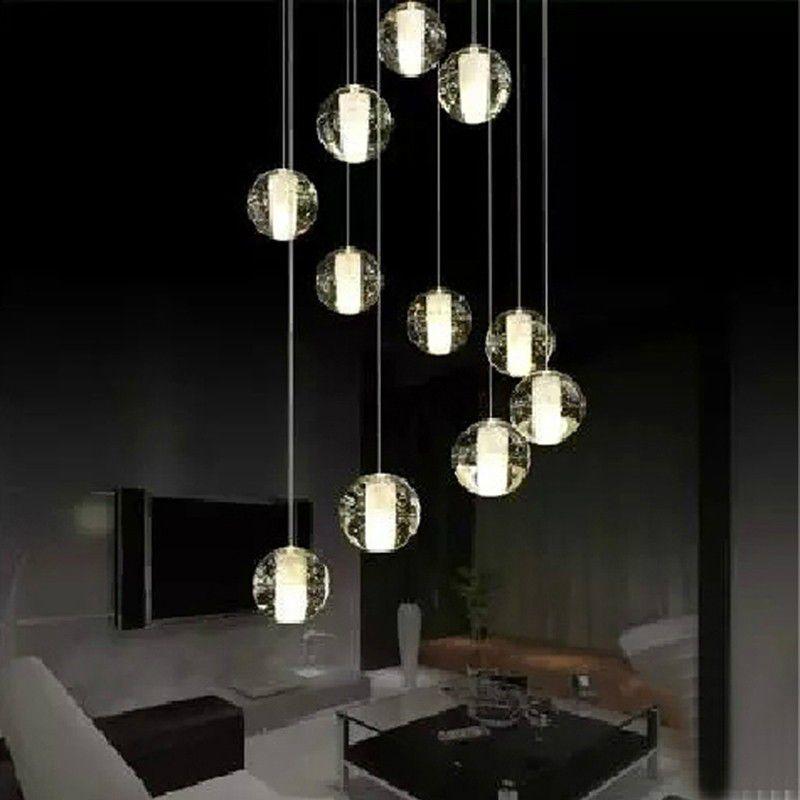 modern led crystal pendant lamp multi light linear pendant light