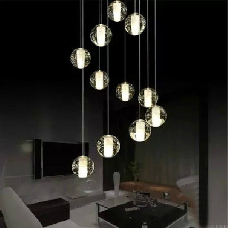Modern led crystal pendant lamp multi light linear pendant light modern led crystal pendant lamp multi light linear pendant light suspension crystal bubble ball pendant mozeypictures Gallery