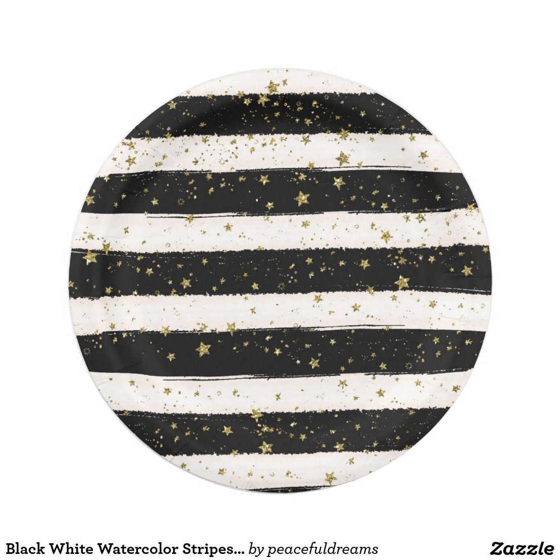 Black White Watercolor Stripes Gold Glitter Stars 7 Inch Paper Plate  sc 1 st  Pinterest & Black White Watercolor Stripes Gold Glitter Stars Paper Plate ...
