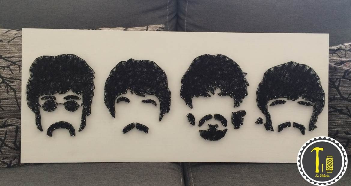 Cuadro The Beatles en hilo #lahileria #thebeatles #beatles #hilo #arte #decoracion #Hogar #fans #decor #art #home #string art #hilorama #mexico