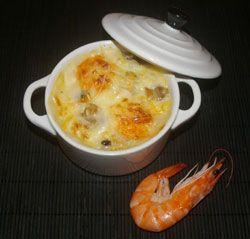 recette Gratin de moules et de crevettes aux champignons ...