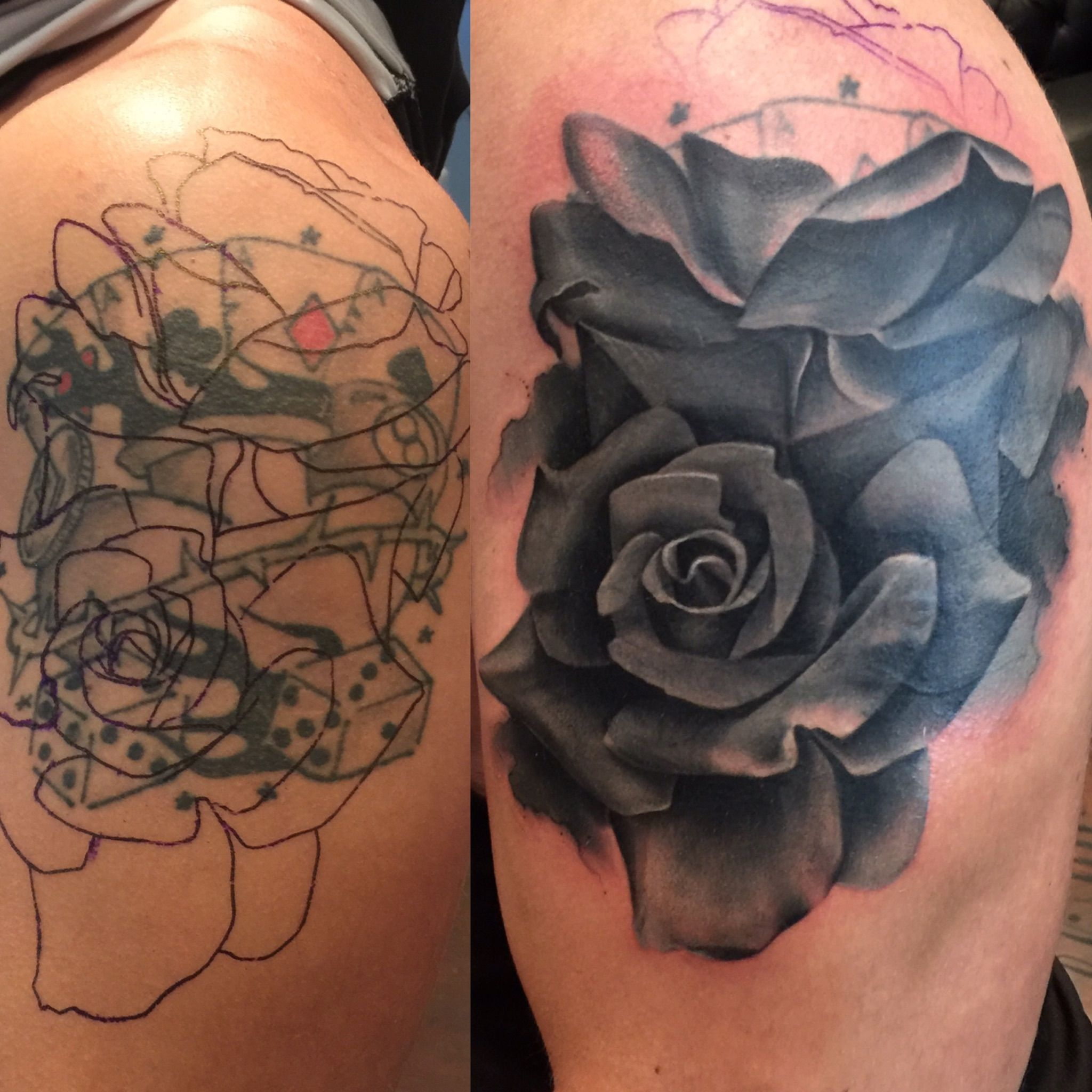 Rose Tattoo Cover Up: Grey Opaque Rose Cover Up