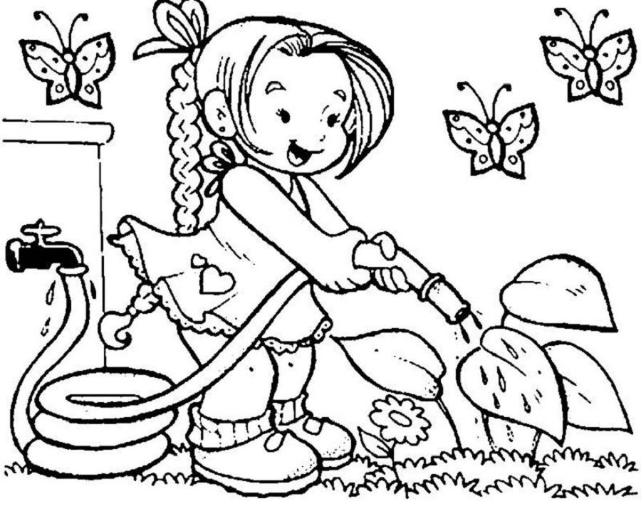 Spring Coloring Pictures For Kindergarten Spring Coloring Pages Flower Coloring Pages Garden Coloring Pages