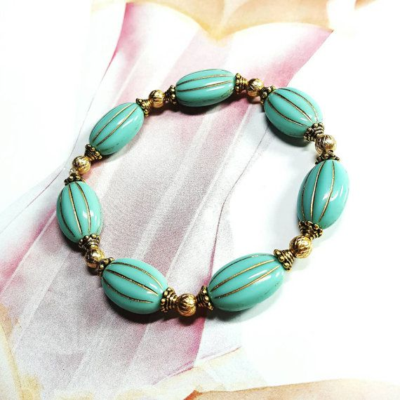 Only $7.65! - Czech Glass Lozenge Melon Opaque Turquoise with Gold Striped  Stretch Bracelet,Small Gold Metallic Criss Cross Beads, Under $10 Bracelet-  FREE USA SHIPPING - https://www.etsy.com/listing/468096639/czech-glass-lozenge-melon-opaque