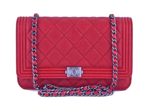 7a410f95a45b44 Nwt 16a Chanel Red Caviar Boy Classic Quilted Woc Wallet On Chain Flap Bag