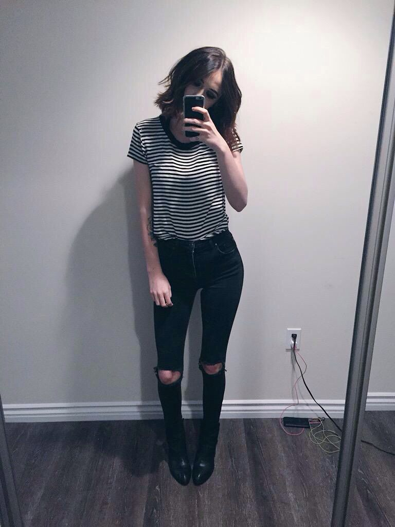 acacia brinley: striped shirt ripped black jeans | fashion