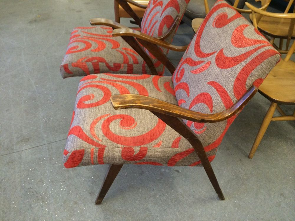 Super Pair of vintage Retro Bentwood lounge / Easy chairs
