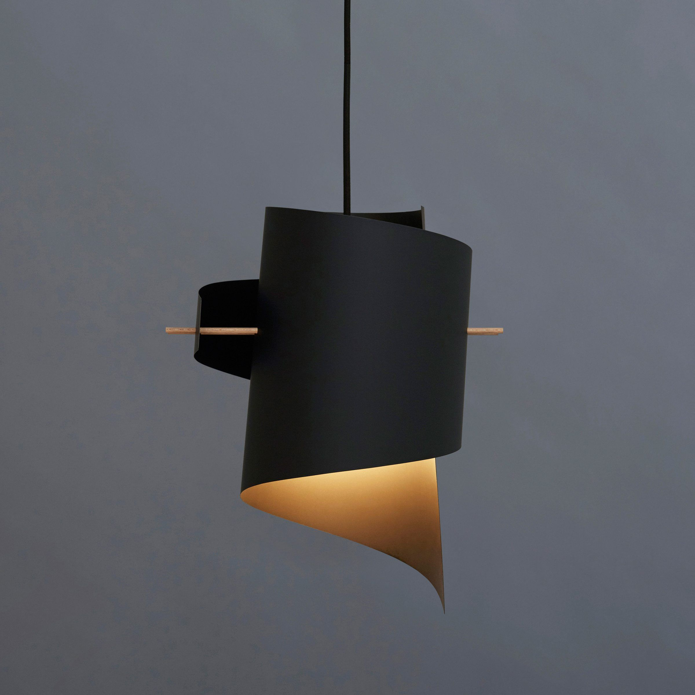 Matte black plastic lampshade, natural beechwood rods, 4M black ...