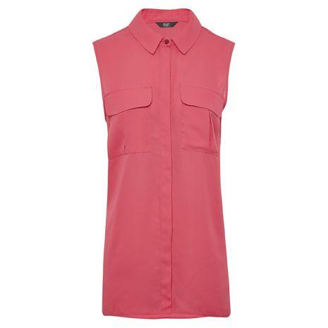 Málnaszínű, ujjatlan, hosszított ing, ami ideális a nyári hétköznapkora.