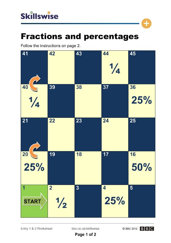 Printable Worksheets learning percentages worksheets : Fractions and Percentages | Math | Pinterest | Worksheets, Math ...
