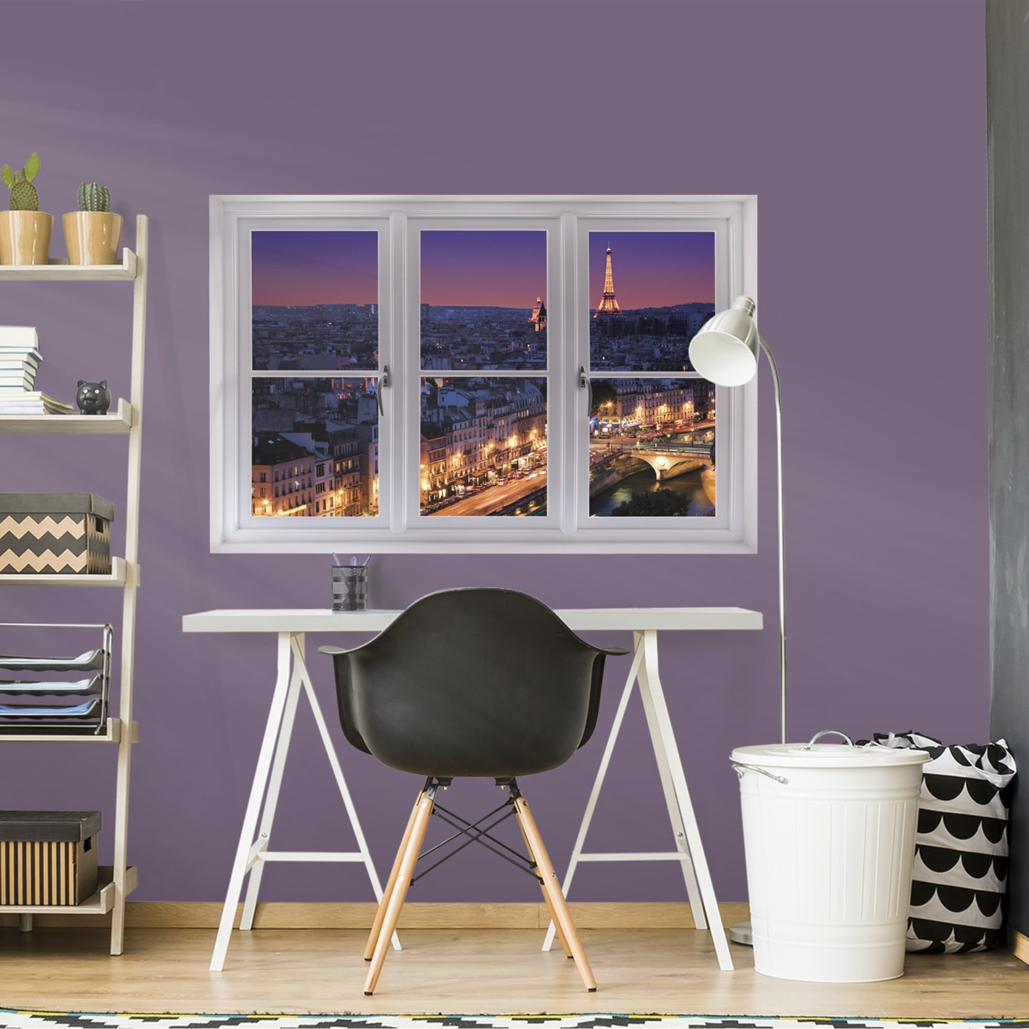 Instant Window Paris Skyline At Night Giant Removable Wall Graphic Wall Decal Shop Fathead For Faux Window Wall Graphics Wall Vinyl Decor Removable Wall