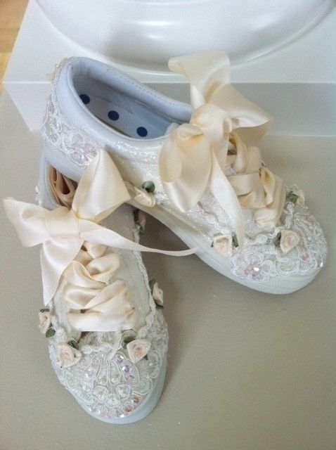 Ivory Original Beaded Bridal Sneakers In By ShoePrincess 12000