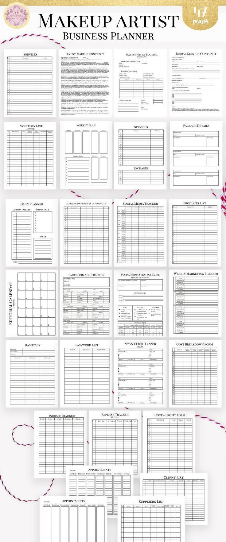 Makeup artist editable business planner and manager
