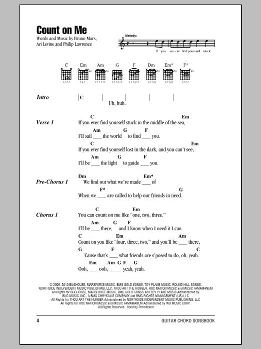 Count On Me Sheet Music By Bruno Mars Ukulele Chords Songs Ukulele Songs Guitar Chords And Lyrics