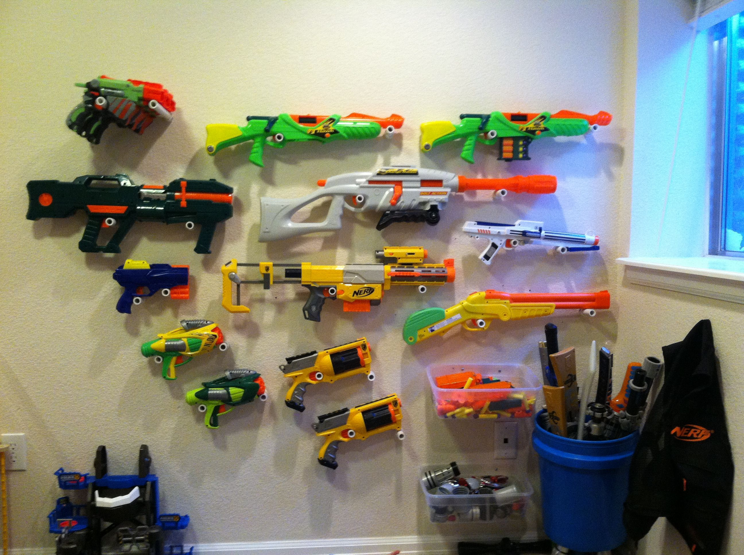 Nerf Gun Wall I used 1 2 inch PVC with caps Drill hole in cap