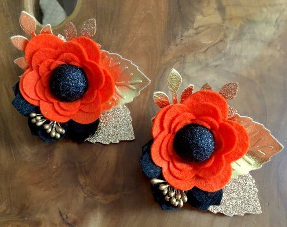 2 Felt flower clusters/blooms. Orange/black felt flowers with gold leaves. Felt flower headband, flo #feltflowerheadbands 2 Felt flower clusters/blooms. Orange/black felt flowers with gold leaves. Felt flower headband, flo #feltflowerheadbands 2 Felt flower clusters/blooms. Orange/black felt flowers with gold leaves. Felt flower headband, flo #feltflowerheadbands 2 Felt flower clusters/blooms. Orange/black felt flowers with gold leaves. Felt flower headband, flo #feltflowerheadbands
