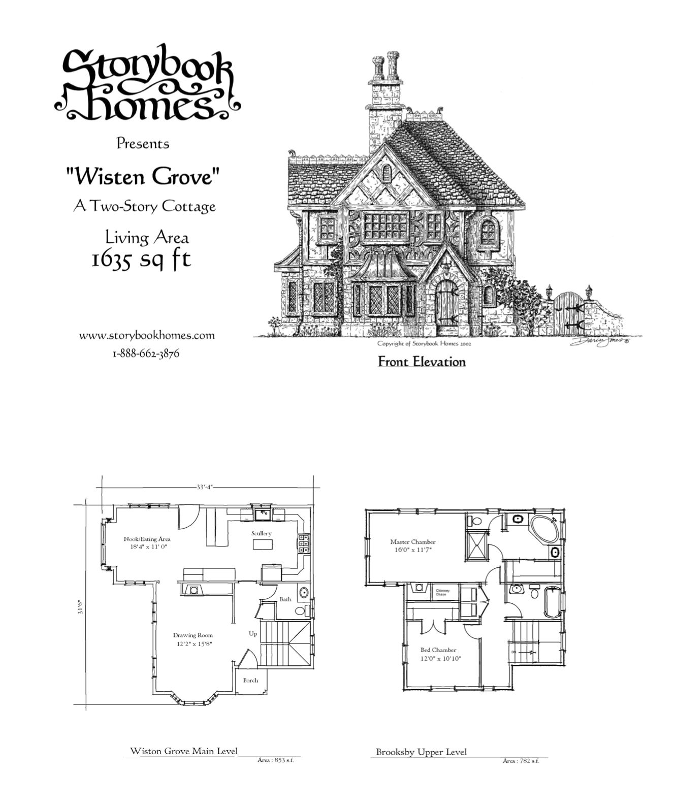 Add Carriage House To Stage Right Vaulted Ceilings Over Entryway Eating Nook Living White Stucco Ext W Storybook House Plan Storybook Homes House Floor Plans