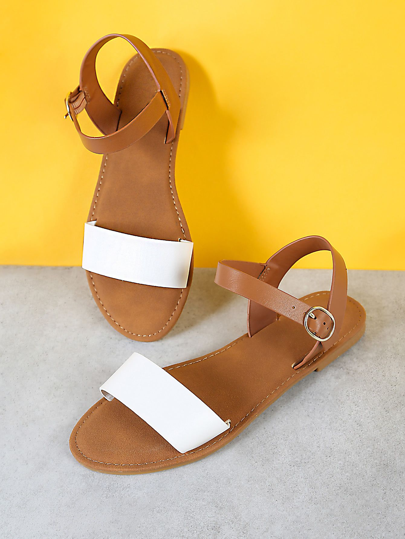 a6df870e29e008 Sling Back Ankle Strap Single Band Flat Sandal WHITE NATURAL -SheIn( Sheinside)
