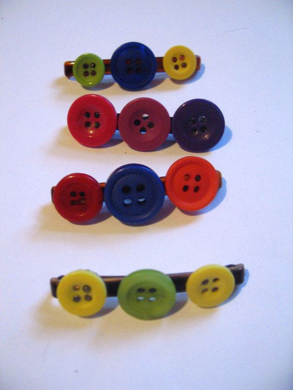 Set of Four Colorful Button Barretts by Blossommistic on Etsy, $1.35